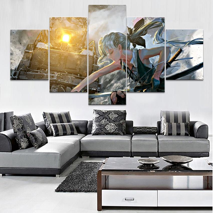 Lienzo en módulos Poster estampado pintura 5 piezas Anime Touhou Yukari Yakumo pintura para sala de estar hogar Decoración de pared MARCO DE ARTE