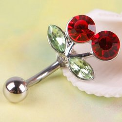 Novo piercing sensual na barriga, com strass e botões de cereja, vermelho, para amantes, barbell, 1 peça