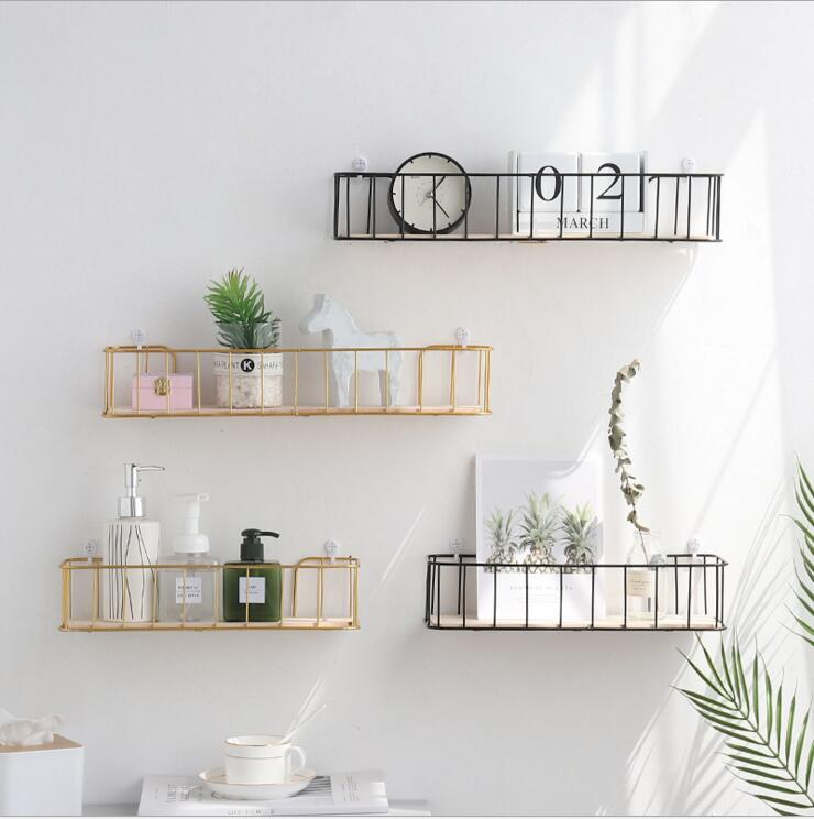 Metal Wall Rack Iron Flower Vase Holder Multi-use WoodenWall Sundries Holder Wall Shelf Storage Basket Iron Art Board Rack