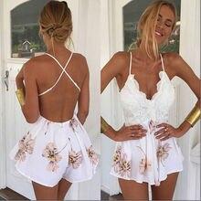 2017 femmes robe dos nu dames tenue de club moulante partie barboteuse body dentelle Patchwork imprimé Floral blanc fronde Mini Vestido
