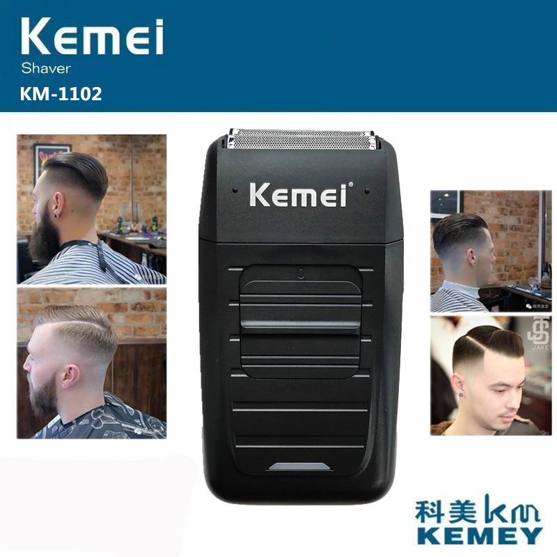 Kemei KM-1102 Rechargeable Cordless Shaver for Men Twin Blade Reciprocating Beard Razor Face Care Mu
