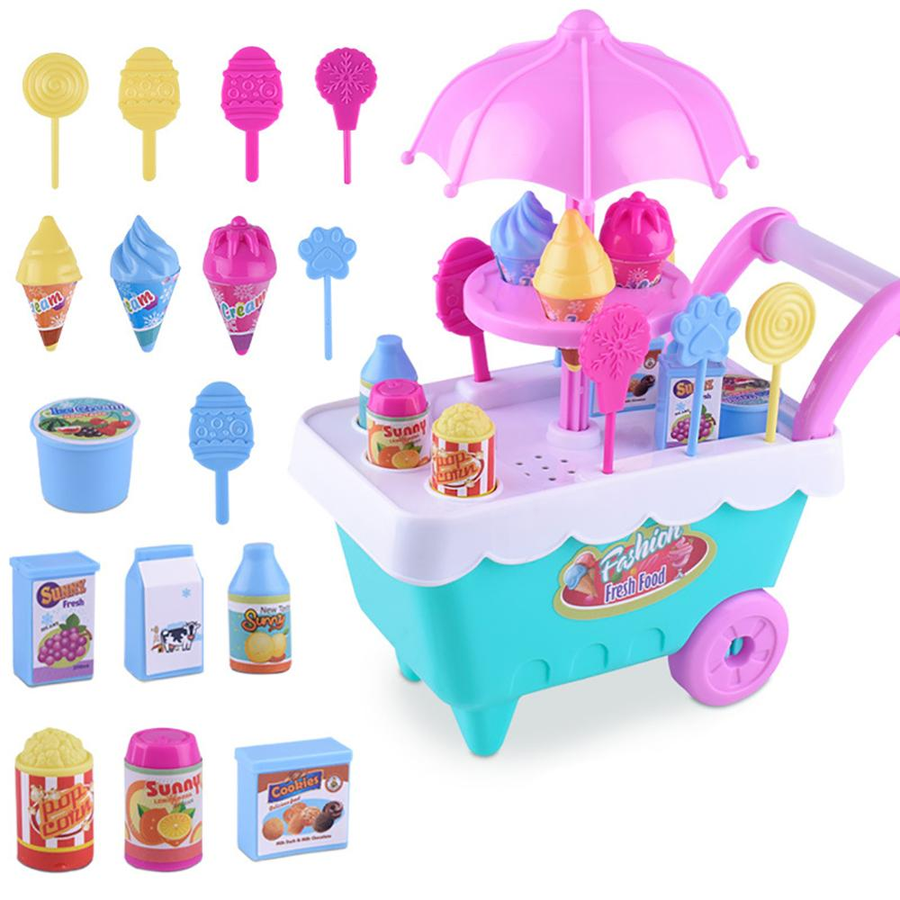 20 33 38cm simulation mini trolley girl candy car ice cream shop supermarket children play toy ice cream cart Lovely Simulation Candy Lollipop Ice Cream Plastic Trolley Cart Play Set Funny Pretend play Groceries Toy with Wheels Kid Gift