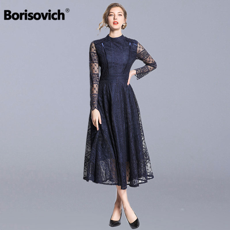Borisovich Female Vintage Lace Long Dress New Brand 2019 Autumn Fashion Big Swing A-line Elegant Women Party Dresses N684