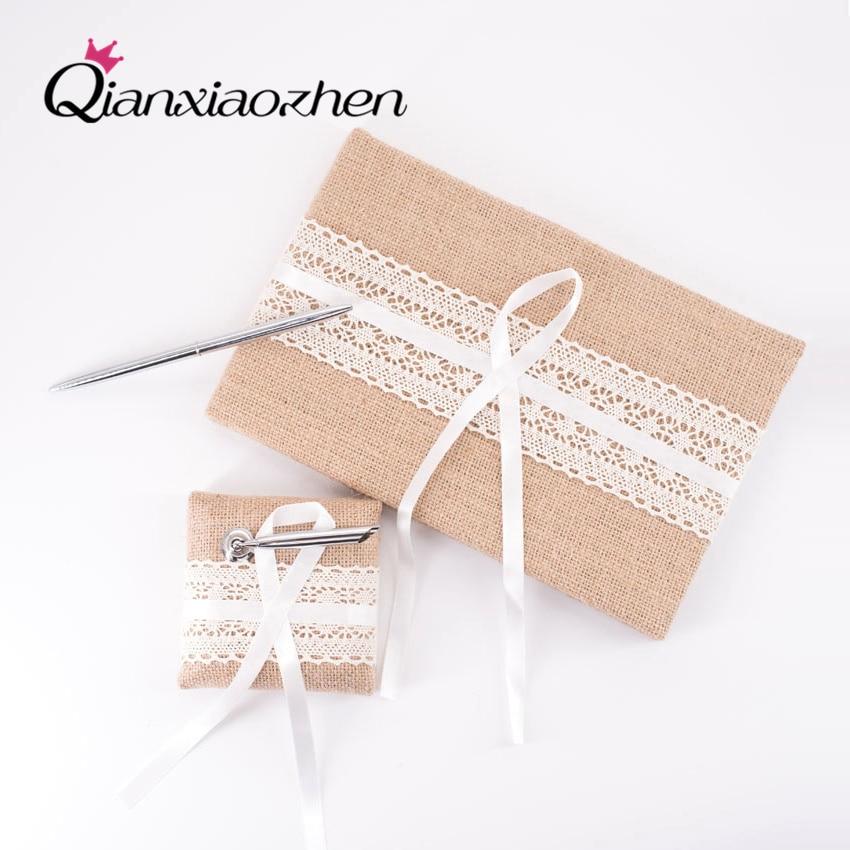 Qianxiaozhen-libro de invitados y bolígrafo de yute, suministros de Boda, accesorios de...