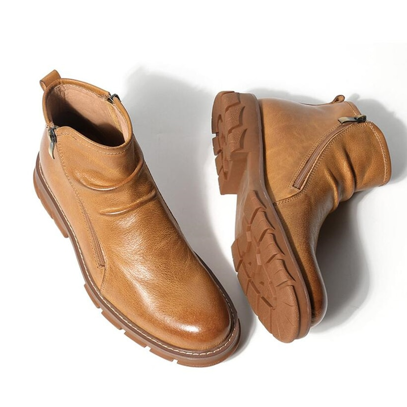 الرجال مطوي أحذية ركوب الخيل الجلود والحبوب الكاملة جولة تو البريدي تشيلسي الأحذية رجل الأعمال كعب سميك زيادة حذاء من الجلد