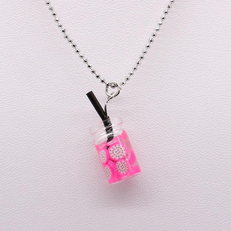 Collar de moda joyería novedad de verano fruta pajita de zumo taza preciosa joya de collar de resina