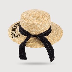 Соломенная шляпа, летняя, с вышивкой, модная, повседневная, для девушек, растяжки, аксессуары, шляпа от солнца