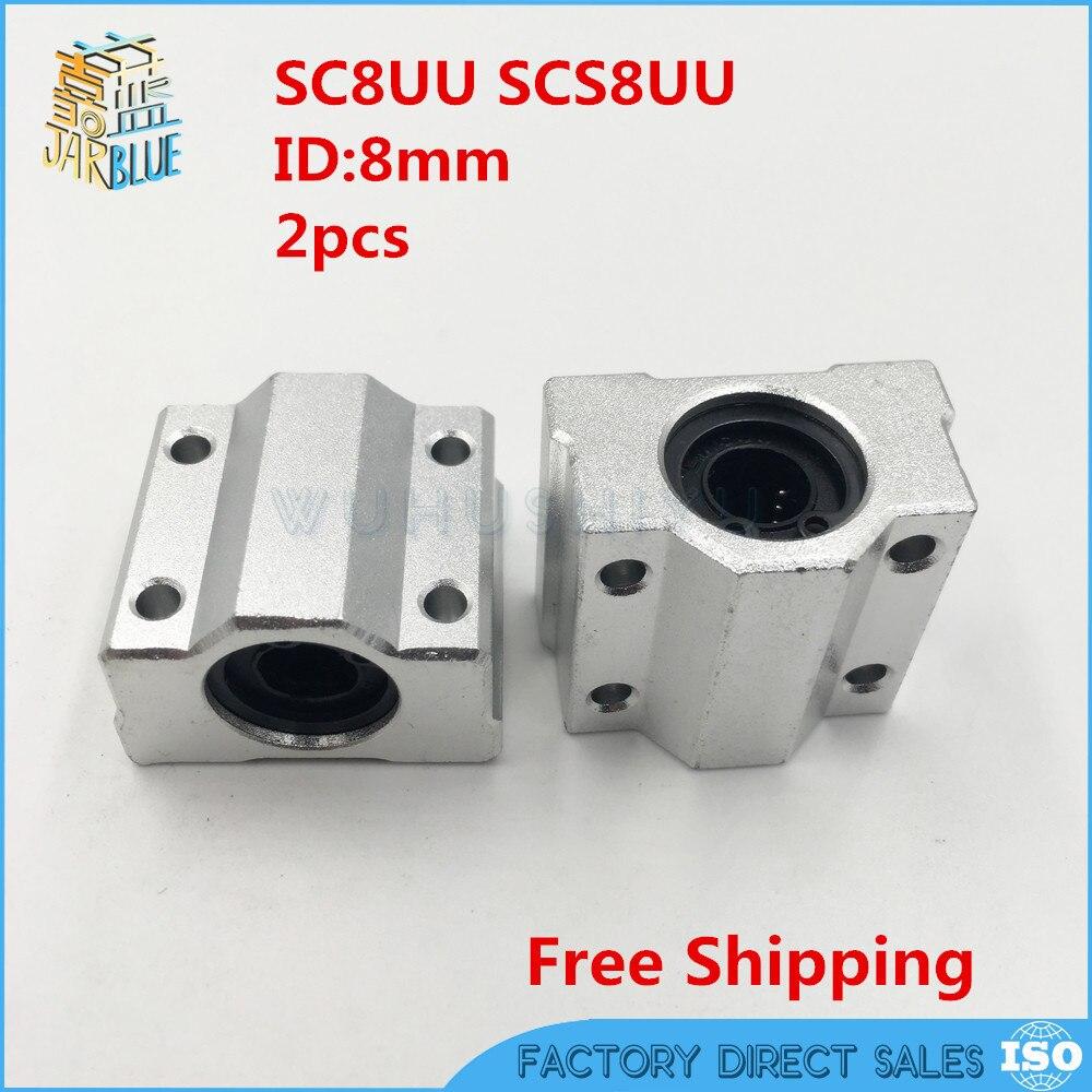 2 unids/lote SC8UU SCS8UU 8mm Linear ball bearing bloquear con LM8UU arbusto, almohada unidad de bloque lineal 8mm eje CNC parte