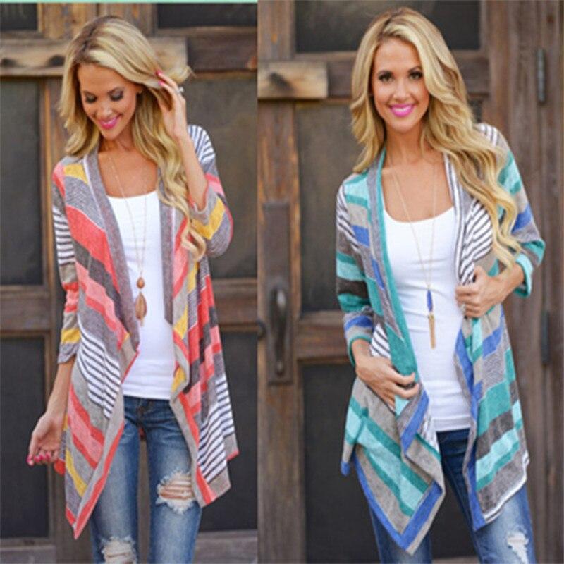 Одежда для беременных модная Осенняя кофта контрастных цветов в полоску