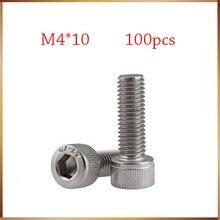 Envío Gratis 100 unids/lote rosca métrica DIN912 M4x10 mm M4 * 10 mm 304 de acero inoxidable de cabeza hexagonal Tornillos