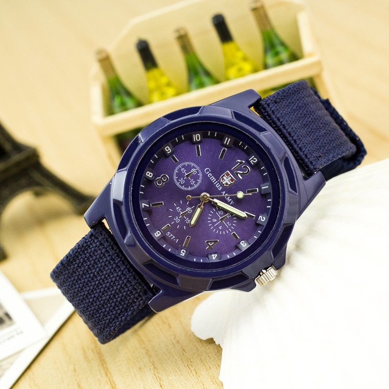 Reloj de pulsera de cuarzo analógico Geneva Casual reloj deportivo con correa de nailon para hombre