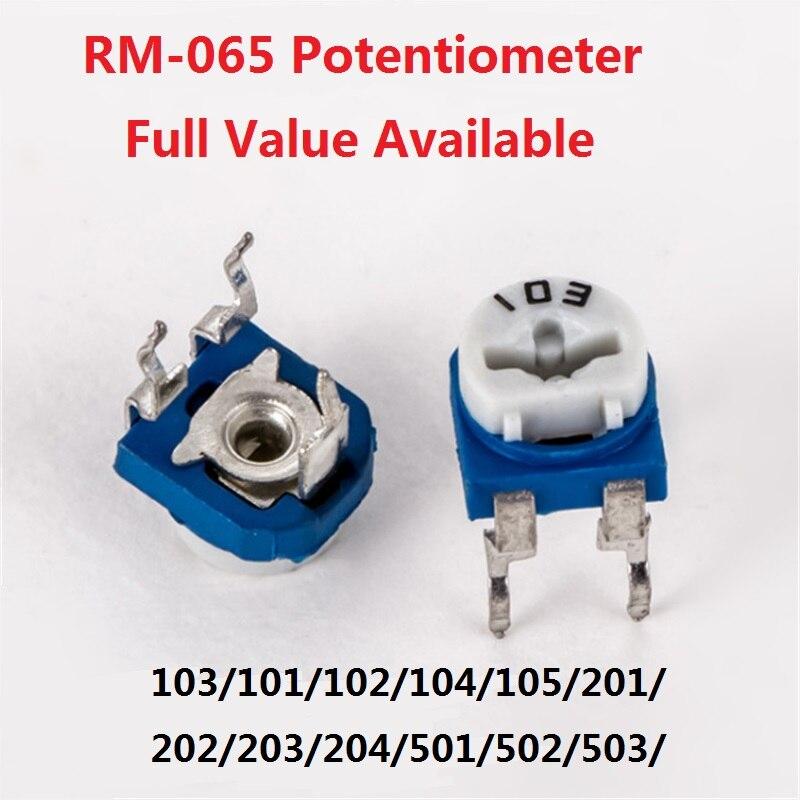 20 piezas RM065 Trimpot Trimmer resistor ajustable potenciómetro RM-065-103/101/102/104/105/201/202/203/204/501/502/503/504 1K 10k