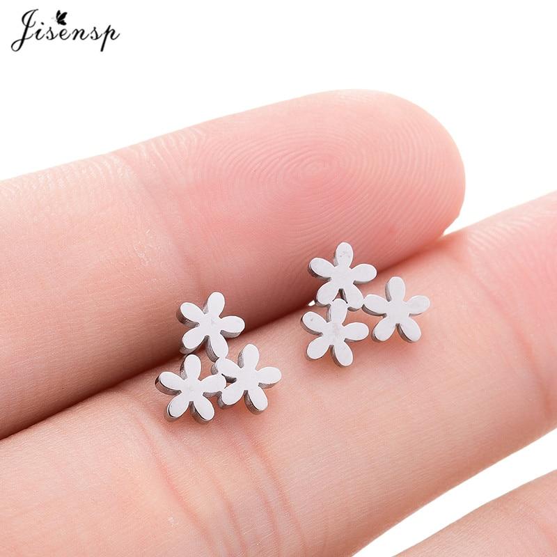 Jisensp Новые цветочные серьги для женщин, женские свадебные ювелирные изделия, подарок, корейские серьги-гвоздики из нержавеющей стали, милая ...