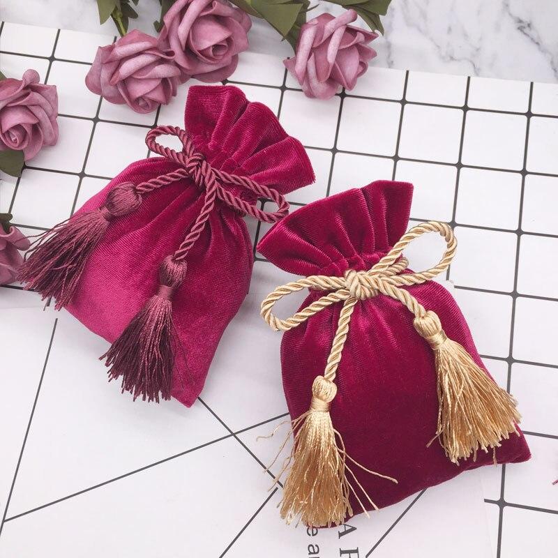 10 pces cinza ouro veludo sacos com borla 11x15cm roxo vermelho malotes jóias sacos de embalagem mp3 natal doces casamento presente sacos