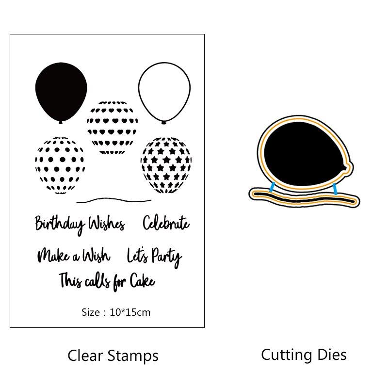 AZSG, globo de aire caliente colorido, sello de silicona transparente/clip de sello DIY/Decoración de álbum, conjunto de molde para recortar sello transparente