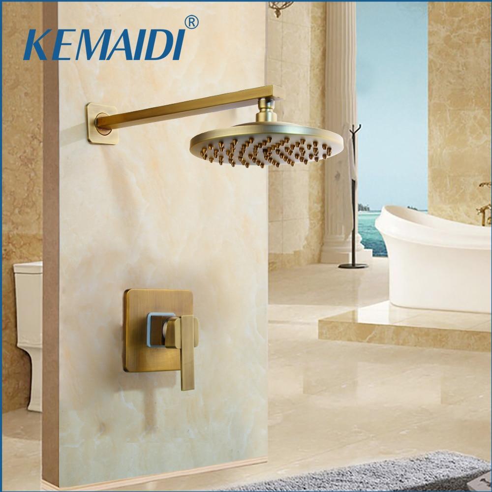 KEMAIDI-صنبور دش مثبت على الحائط ، نحاسي عتيق ، 8 بوصة ، رأس دش مطري ، ذراع واحد ، صنابير خلاط مخفية