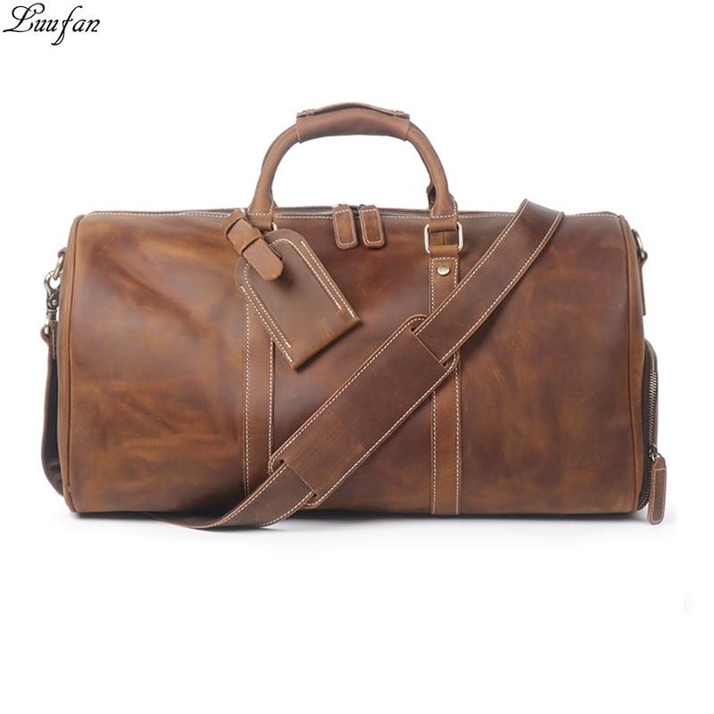 Винтажная Большая вместительная мужская дорожная сумка из коровьей кожи, прочная сумка-тоут из натуральной кожи для путешествий, большая с...