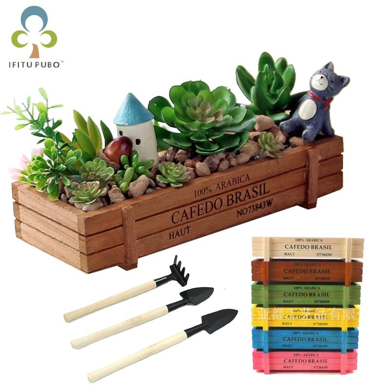 Горшок для садового растения декоративные винтажные суккулентные деревянные ящики прямоугольник стол цветочный горшок садовое устройство GYH
