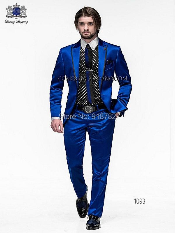 2018 хит продаж, мужские облегающие костюмы, смокинги для жениха, королевский синий атласный Лучший мужской костюм, смокинг для выпускного, му...