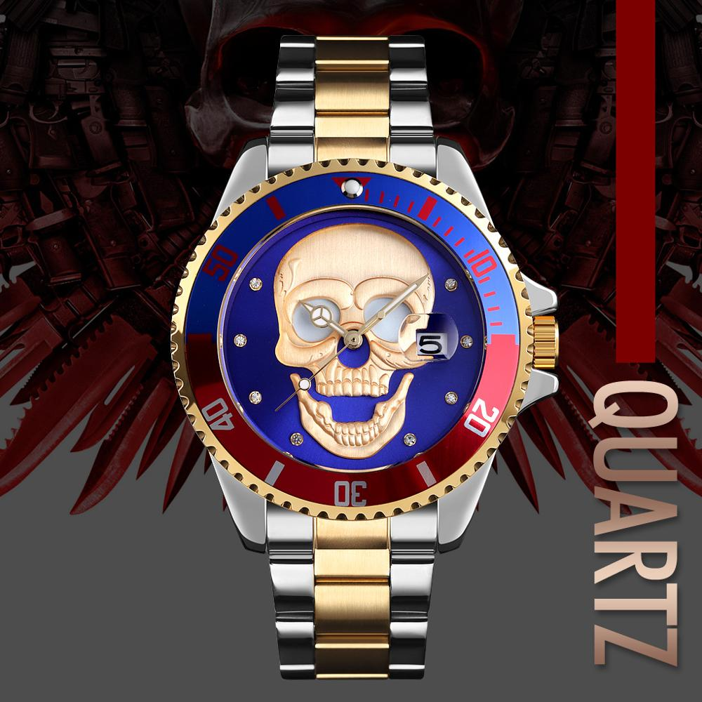 SKMEI Mens Skull Quartz Watch Men Skeleton Creative Watches Stainless Steel Male Clock Waterproof Wristwatch Relogio Masculino