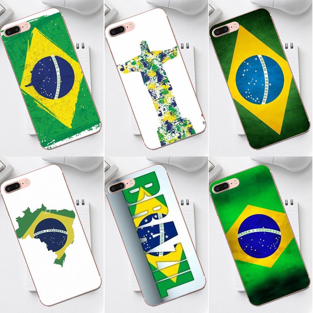 Qdowpz suave teléfono móvil transparente para iPhone X XS X Max XR 4 4S 5 5C SE 6 6S 7 8 Plus Galaxy A3 A5 J1 J3 J5 J7 2017 bandera de Brasil