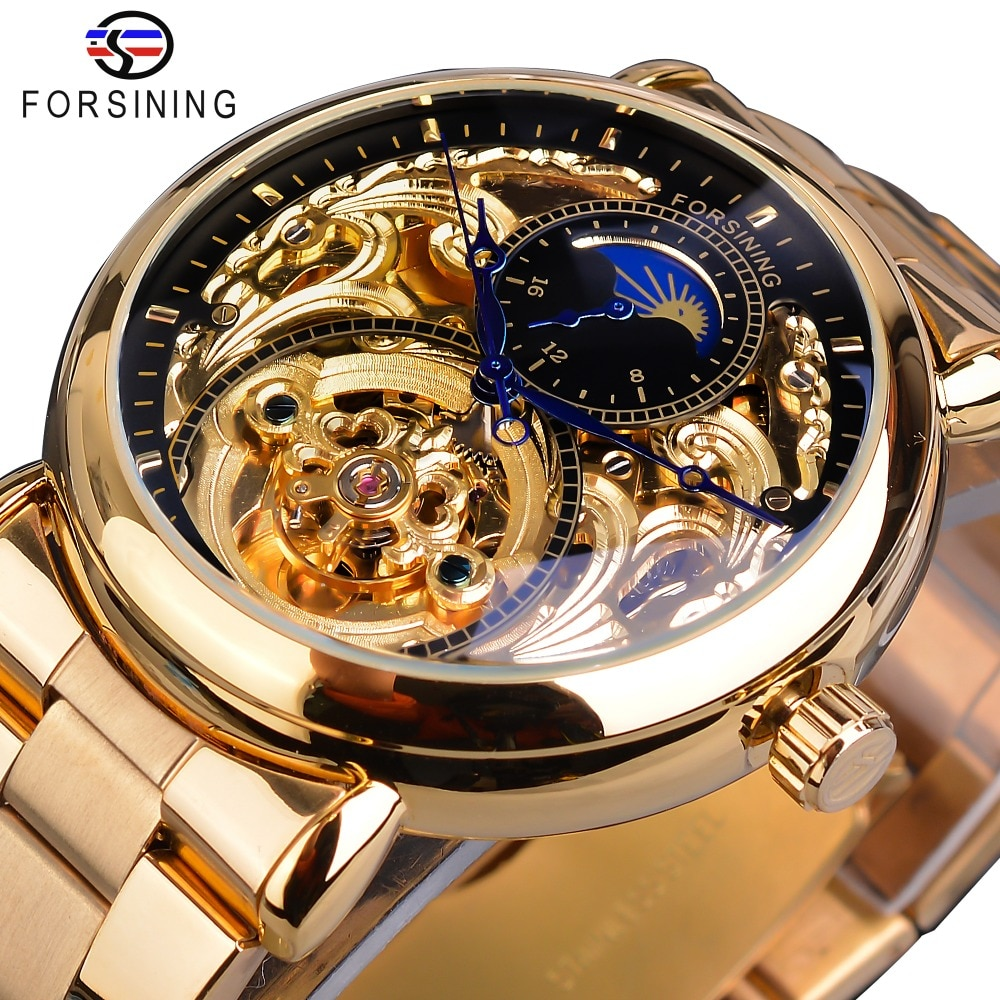 Forsining-ساعة رجالية ميكانيكية أوتوماتيكية ، آلية ، عتيقة ، مراحل القمر ، فولاذ ، ذكر
