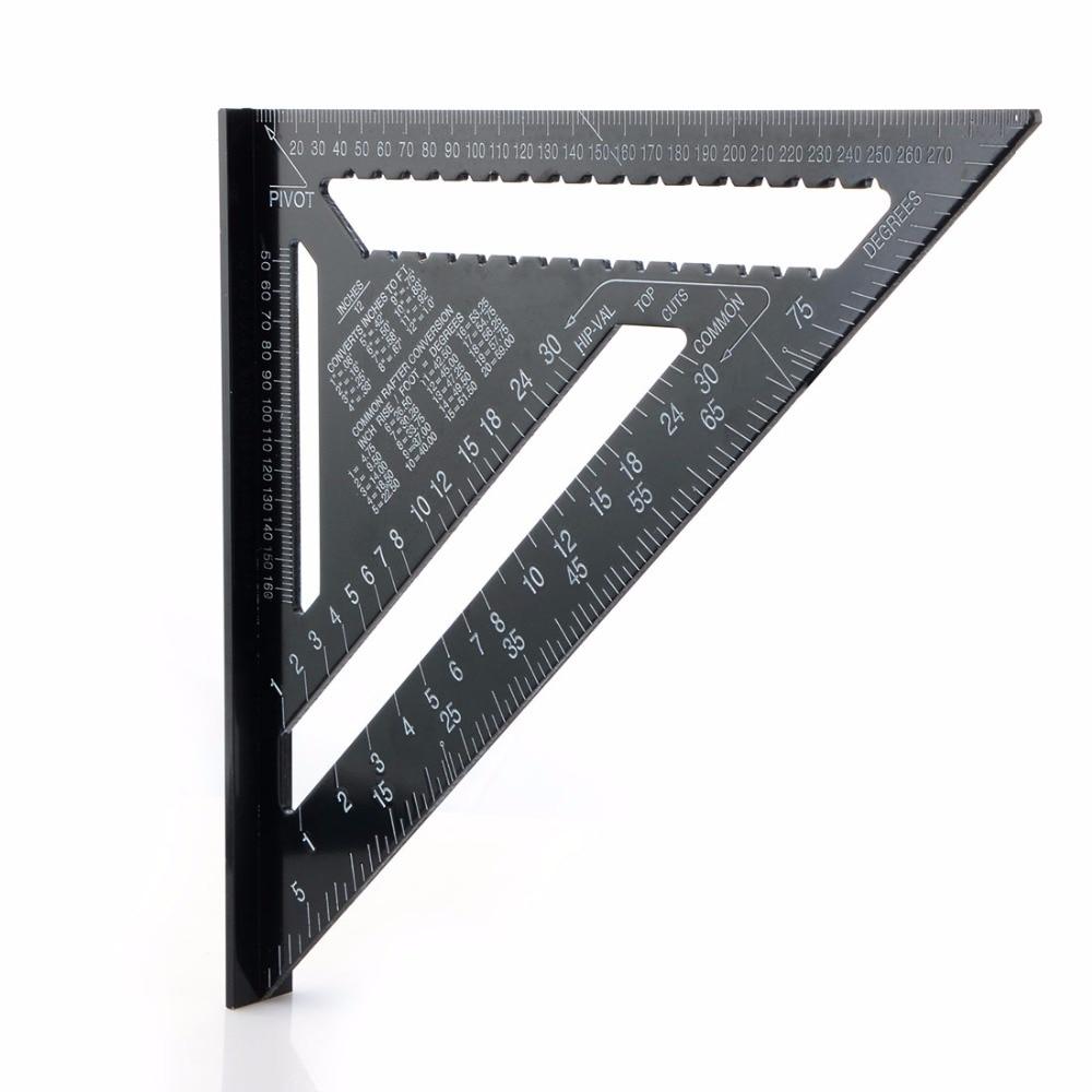 Regla de triángulo negro de 12 pulgadas para herramienta de medición de carpintería herramienta de diseño cuadrado de lectura rápida
