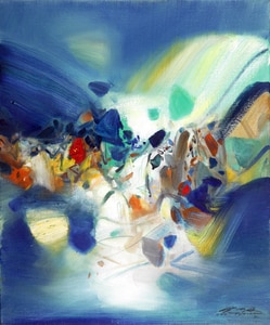 frameless canvas paintings contemporary abstract paintings masterpiece reproduction exciting by  Chu Teh-Chun art