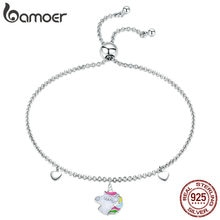 BAMOER mode nouveau 925 en argent Sterling Licorne mémoire Bracelets pour femme coloré émail Bracelets Bracelet bijoux en argent SCB106