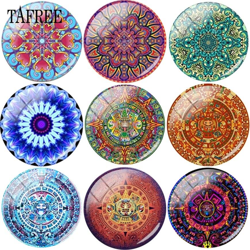 TAFREE hermoso patrón complejo Mandala cuentas de joyería para manualidades 15mm 18mm 20mm cabujón de cristal engastes de colgante de camafeo para pulseras