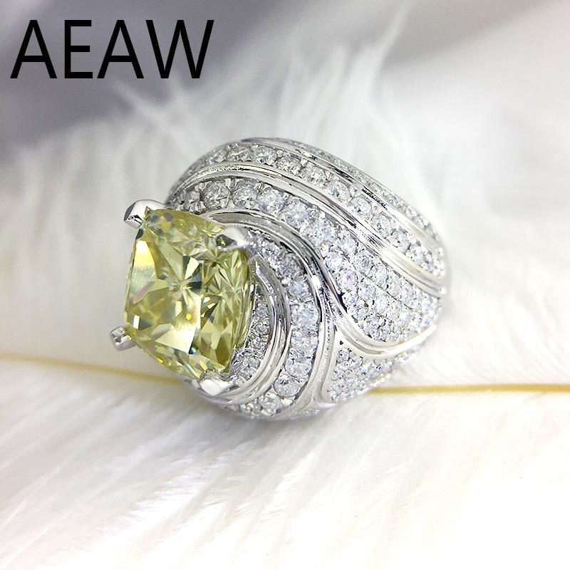 Anillo de diamante Moissanite de compromiso y boda de corte de cojín dorado ct de 4 quilates, anillo de Halo doble, oro blanco genuino de 10K