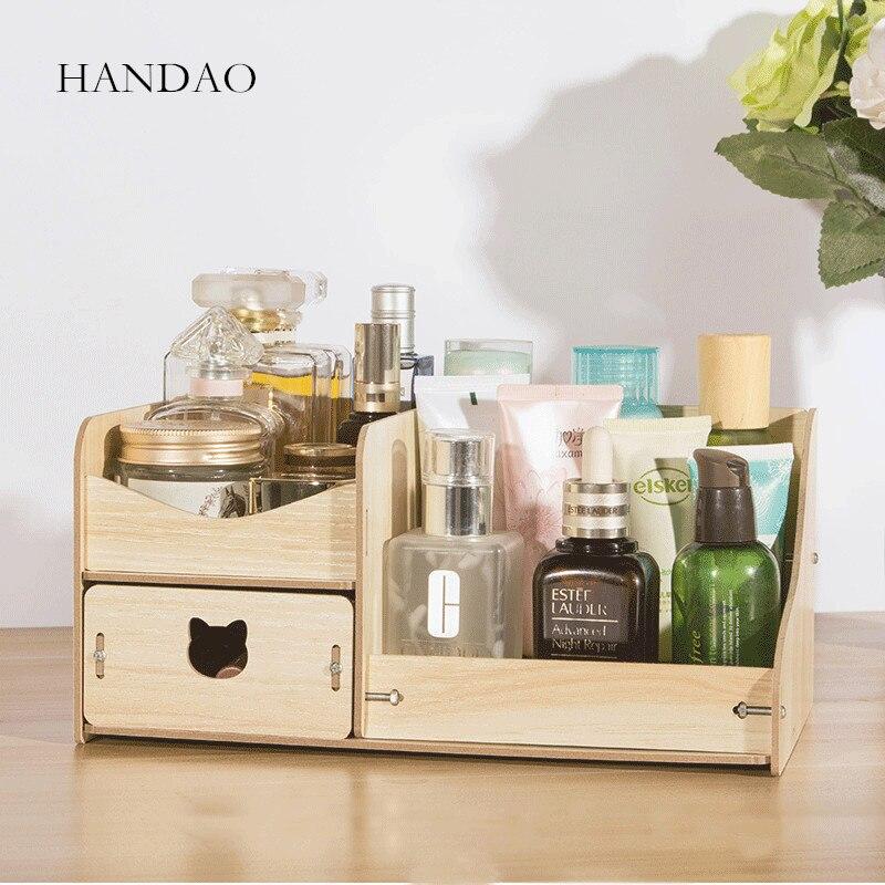 صندوق تخزين خشبي ، منظم مكياج ، لوح خشبي صديق للبيئة ، منظم درج صغير للمكتب والمنزل