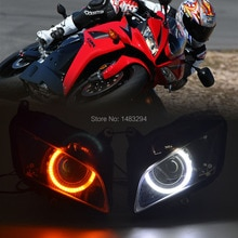 Custom Assembled HID Projector Headlight Conversion White Angel Eye W/LED Turn Signal Amber Fit For Honda CBR600RR 07-12