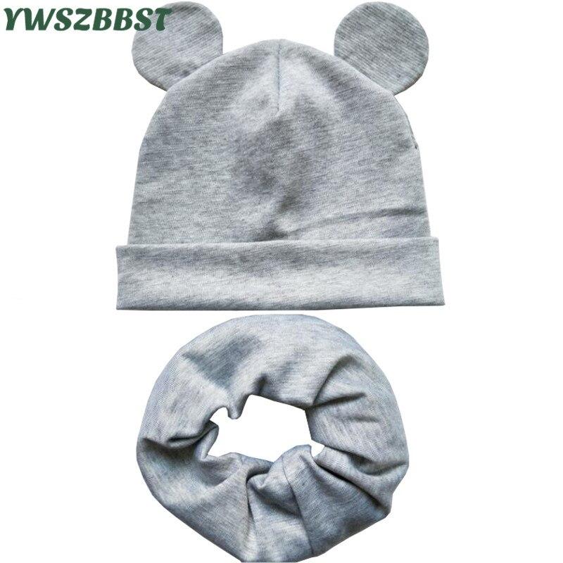 2020 nuevo primavera sombrero del bebé con orejas lindas infantil de algodón bufanda sombrero gorra para niños y niñas anillo Collar bufanda de otoño e invierno gorro de bebé