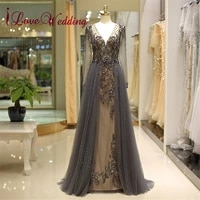 fashion new v neck long sleeves evening gown custom made a line tulle crystal beaded formal arabic evening dresses 80722
