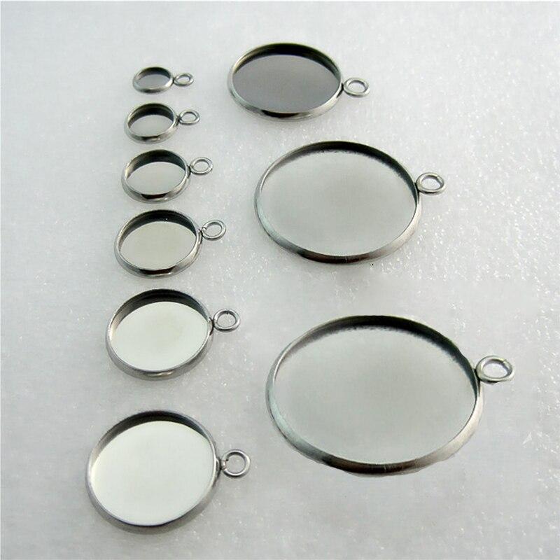 20 pièces en acier inoxydable rond pendentif Base blanc plateau ajustement Cabochon 12/14/18/20/25mm pour bricolage breloque collier faisant des résultats de bijoux
