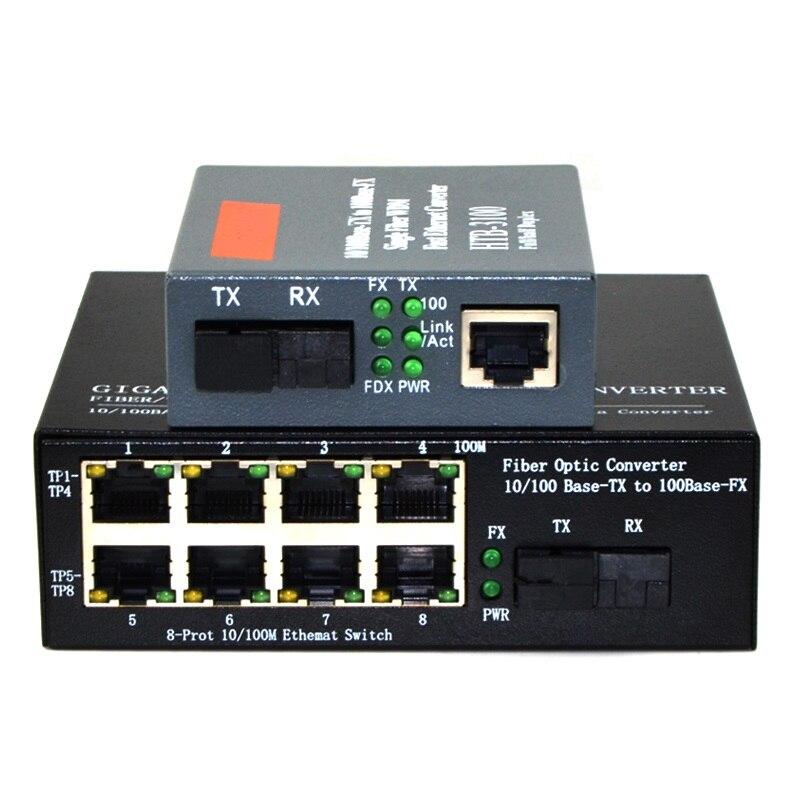 10/100Mbps Fiber Optic Media Converter 1 CH*SC 8 CH*RJ45 Converter 1 CH*SC 1 CH*RJ45 Fiber Optic Transceiver 1 Pair