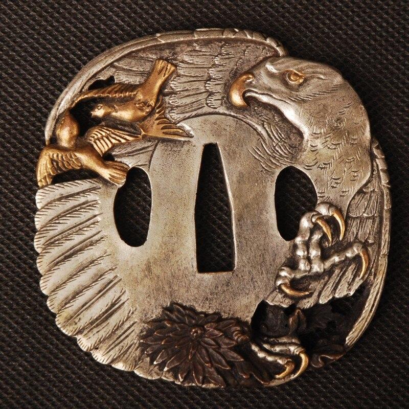 Nizza Schwert Zubehör hochwertigem Messing Geschnitzten Adler Gold & Silber Handschutz Tsuba für Japanese Sword Samurai Katana oder Wakizashi