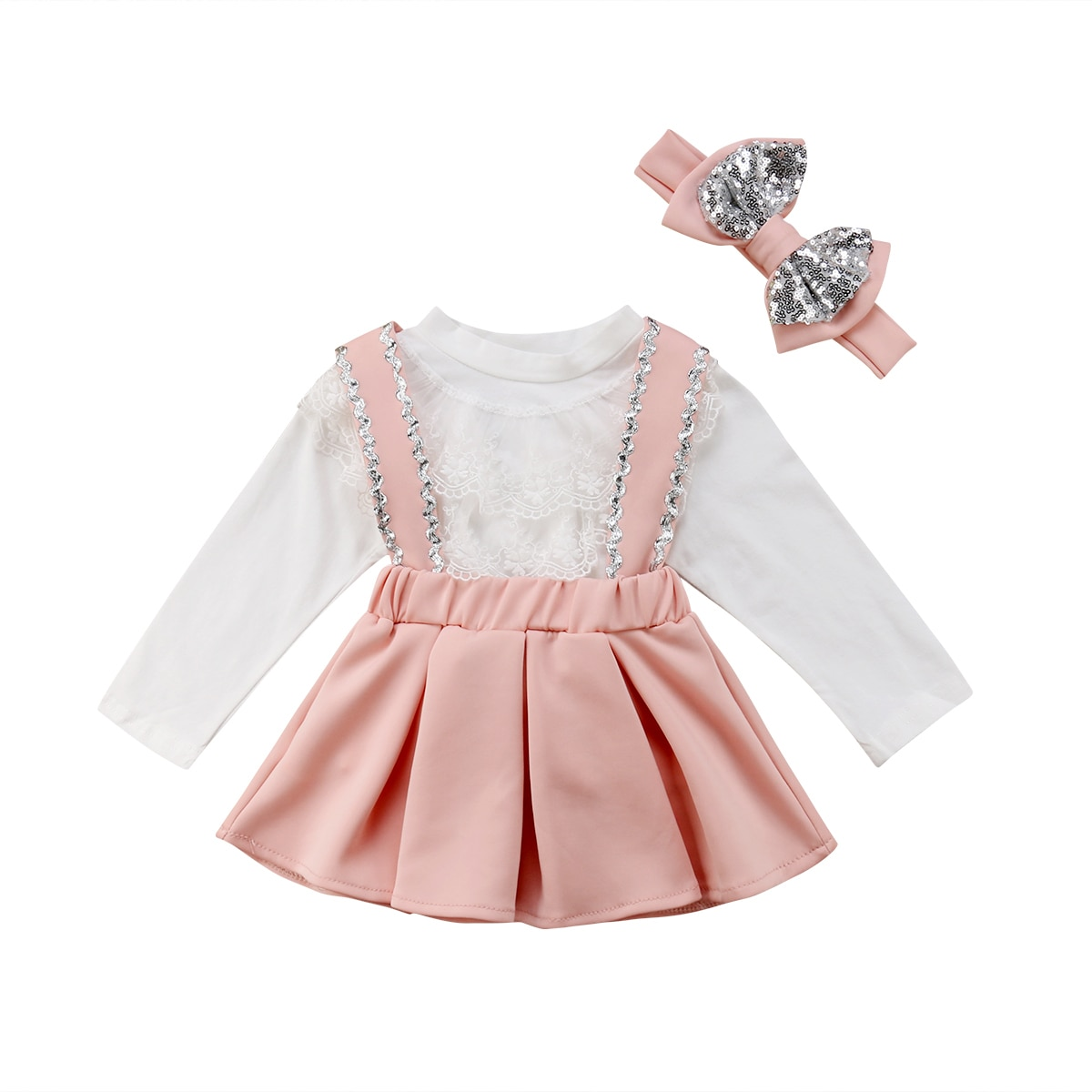 Vêtements princesse pour enfants filles   T-shirt à manches longues, en dentelle blanche, ensemble 2 pièces, avec jupe à bretelles et nœud papillon, ensemble de vêtements