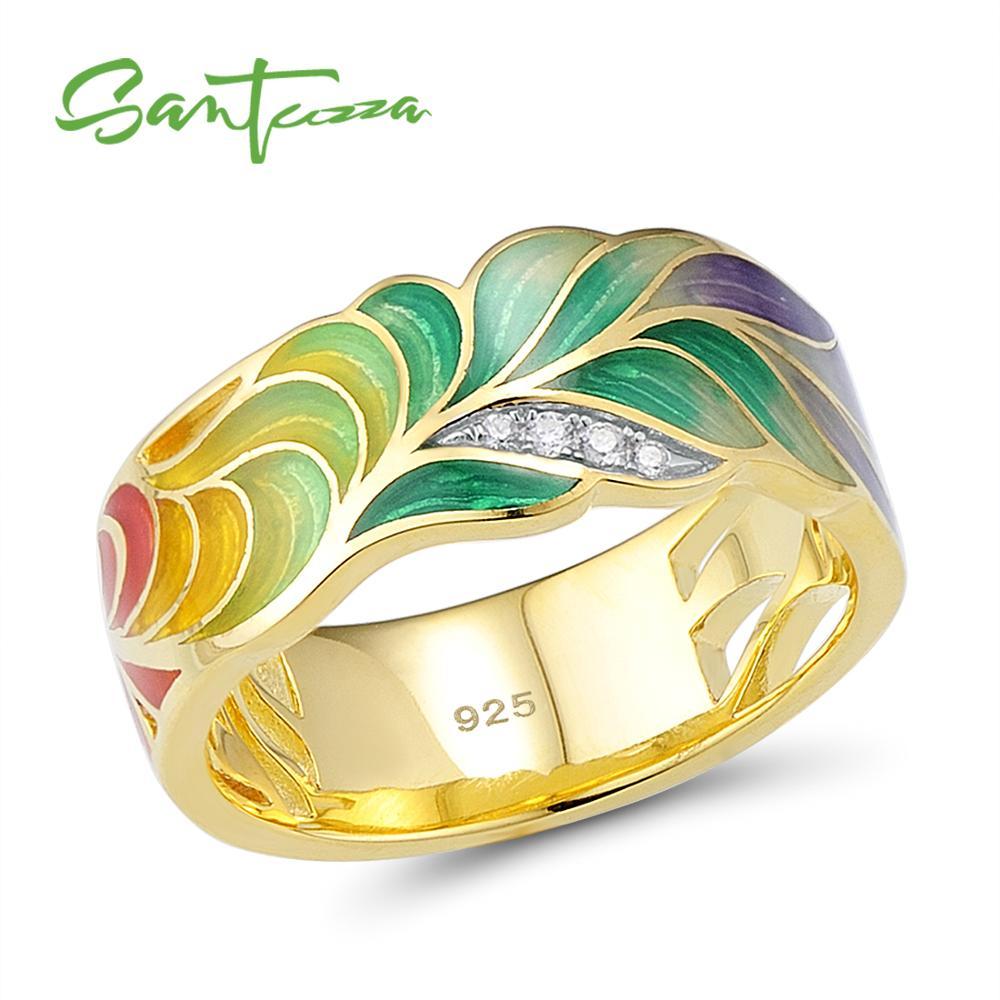 SANTUZZA خاتم فضة للنساء 925 فضة موضة خواتم الذهب اللون زركون رينغن مجوهرات الحفلات المينا اليدوية