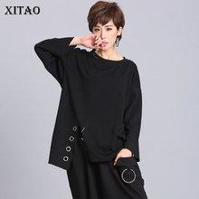 Xitao Ring Split Zwart Plus Size T-shirt Vrouwen Zoom Onregelmatige Hollow Out Stitch O Hals Womens Kleding Tij 2019 nieuwe LJT1198