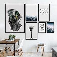 Affiches indiennes de paysage en mode   Toile, peinture imprimée, images murales pour salon, nordique, belle fille, papillon océan P