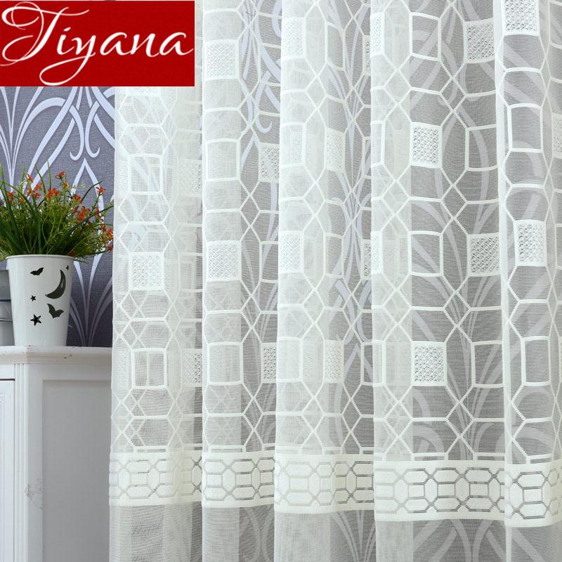 Warp Curtain Jacquard for Living Room Geometric Tulle Curtain Sheer Drape Kitchen Treatment Customize M&077#30