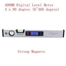 Inclinomètre vertical de niveau à bulle de portée de 400mm de détecteur dangle numérique de 360 degrés avec la règle de rapporteur daimants rétro-éclairage bleu