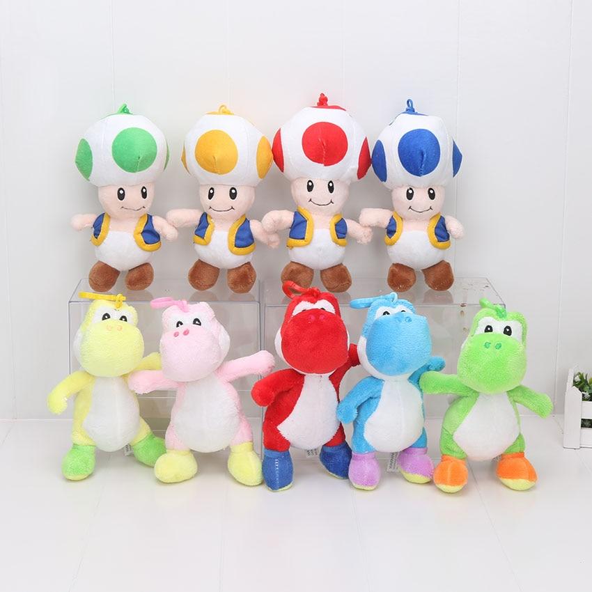 7 18 cm Super Mario Bros Brinquedo de Pelúcia Cogumelo Toad Yoshi Super Mario Plush Toys Stuffed Dolls Para Crianças Peluche
