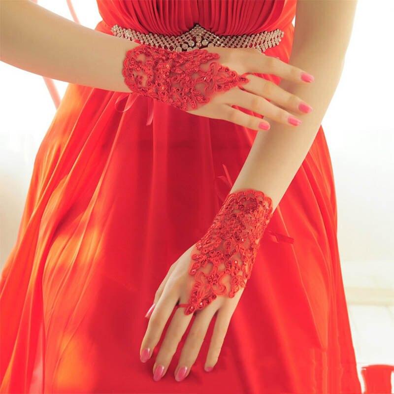 2019 moda feminina noiva nupcial elegante curto strass branco vermelho laço fingerless luvas casamento barato acessórios barato
