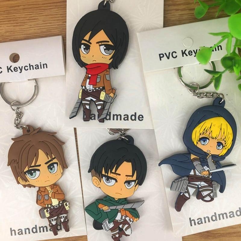 1pcs Attack On Titan Anime Krista Lenz Rivaille Eren Armin Japanese Rubber Keychain Fashion