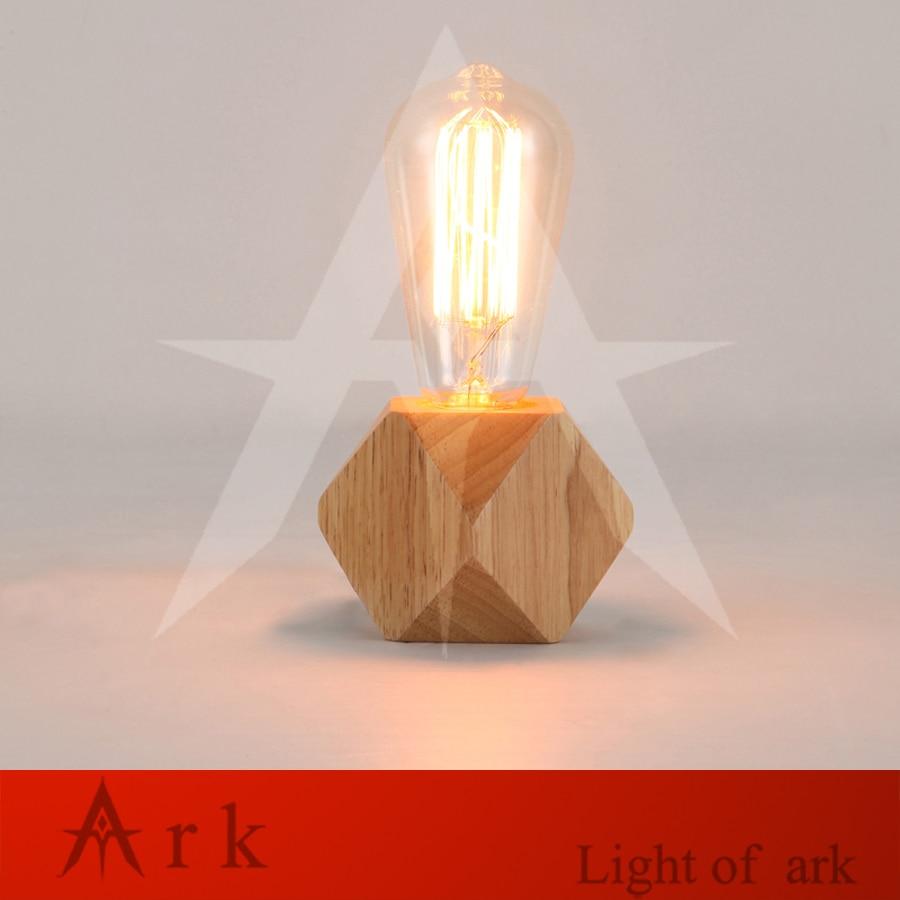 Lámpara de mesa de madera Vintage, lámpara moderna Industrial de madera moderna, junto a lámparas de escritorio, accesorios de iluminación de unión