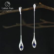 Lotus fun real 925 prata esterlina natural lapis artesanal jóias finas vintage elegante longo balançar brincos para mulheres brincos