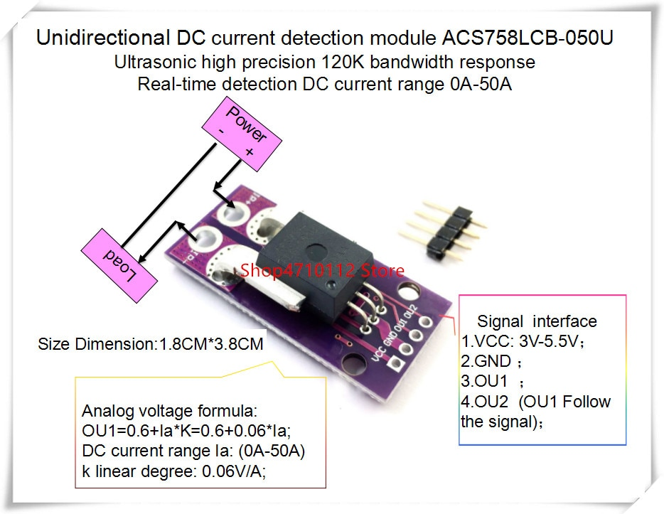Novo pçs/lote ACS758LCB-050U acs758 ACS758LCB-050 acs758lcb 050u 120 khz largura de banda dc 0-100a 0.06 v/1a